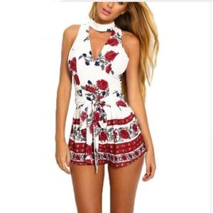 White with Red Floral Halter Sleeveless Romper set